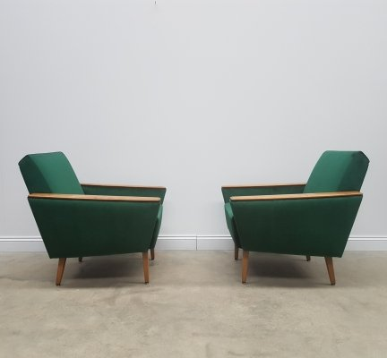 Pair of 1960 Mid Century Danish Loungers Club Chairs in Royal Green Velvet