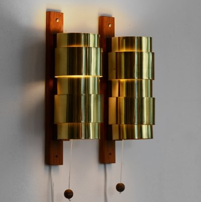 Brass wall sconces by Hans-Agne Jakobsson, Sweden 1960s