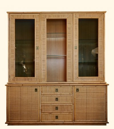 Bamboo High Sideboard With Display Top, 1970s