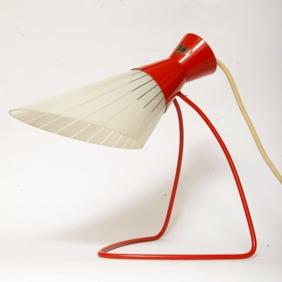 Red & white desk lamp by Josef Hůrka for Napako, Czechoslovakia 1960s