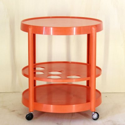 1970s bar cart in orange plastic