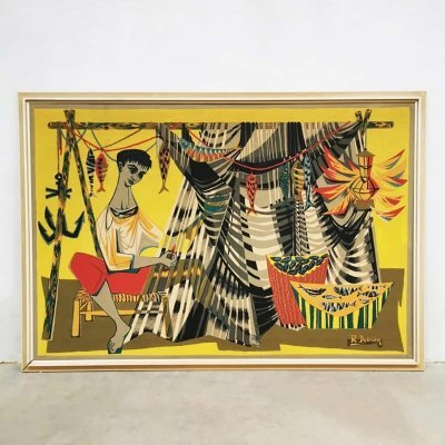 Midcentury artwork 'Les remailleur de fillets' tapestry by Robert Debieve