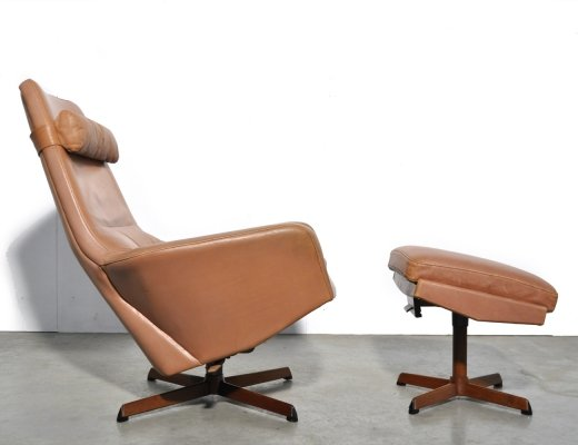 Danish swivel chair with hocker by Ib Madsen & Acton Schubell for Bovenkamp, 1960s