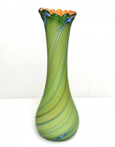 Large handblown vase in vibrant green, orange & blue, 1980s