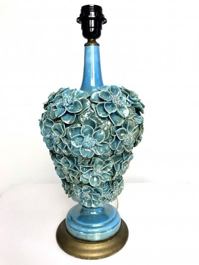 Ceramic table lamp with floral design in oceanic green, 1950s