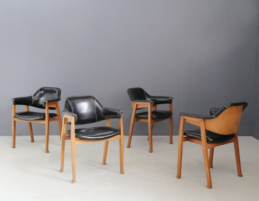 Set of 4 Italian chairs in Wood & Black Leather, 1950s