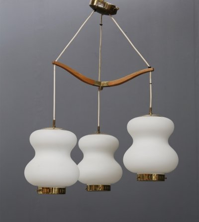 MidCentury Stilnovo chandelier with three bowls in opal glass & brass, 1950s