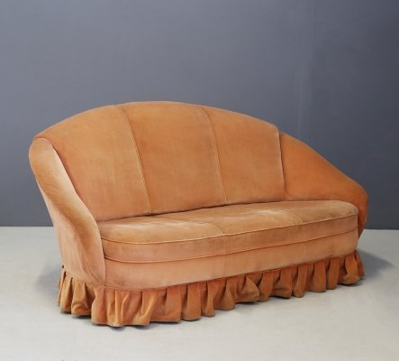 Midcentury Gio Ponti Sofa in Original Orange Velvet, 1930s