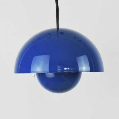 Blue Flowerpot Pendant Lamp by Verner Panton for Louis Poulsen, 1960s