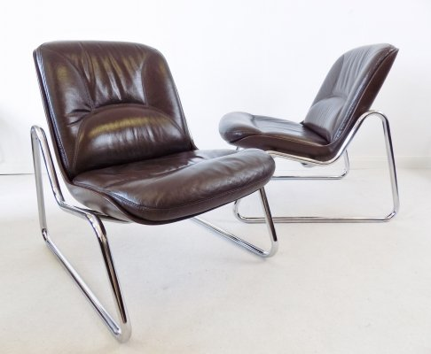 Drabert pair of Brown Leather Lounge Chair by Gerd Lange