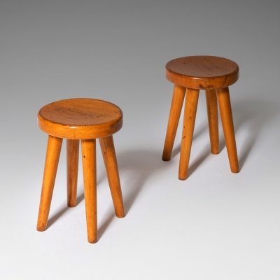 Charlotte Perriand 'Quadripodes' stools in solid pine, 1970s
