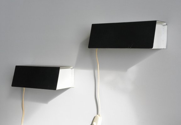 Pair of model 7102 wall lamps by J. Hoogervorst for Anvia Almelo, 1950s