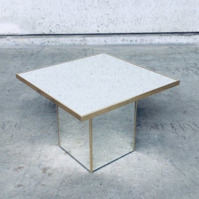 Hollywood Regency Style Square Mirror Side Table, 1970's