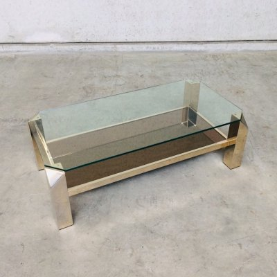 Modernist Gold Coffee table by Belgochrom, Belgium 1970's