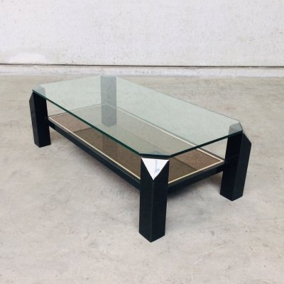 Modernist Black Coffee table by Belgochrom, Belgium 1970's