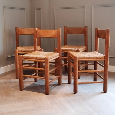 Oak & Rope Dining Chairs, 1950s/1960s