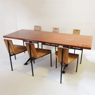 Custom made Dining table & 6 chairs by Wim den Boon, Netherlands 1958