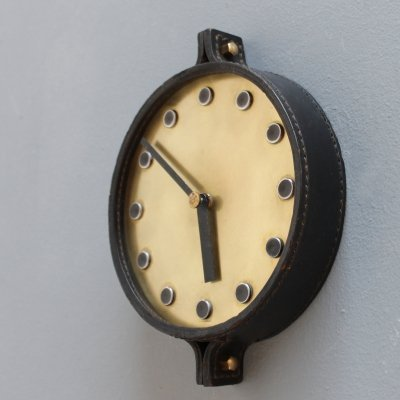 Leather wall clock by Junghans, Germany 1960s