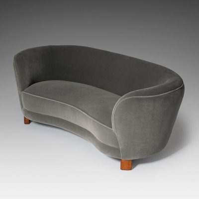Curved Danish Banana Sofa in Rich Mohair, 1940s
