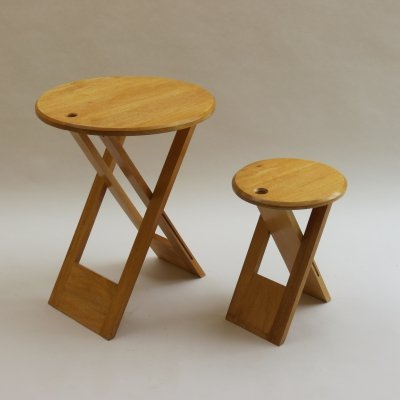 Vintage Folding wooden stool & dining table, 1980s