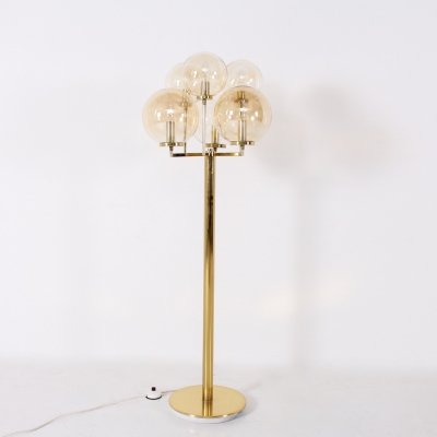 Solid brass & blown glass Hollywood Regency floor lamp, 1970's