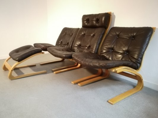 Scandinavian 'Kengu' seating group in brown leather by Elsa & Nordahl Solheim for Rybo Rykken & Co, 1970s