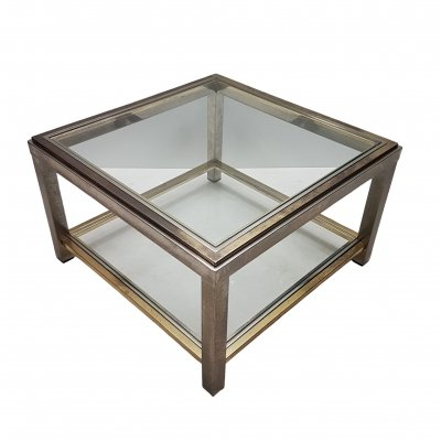 Brass & stainless steel 2-tiers side table, 1970s
