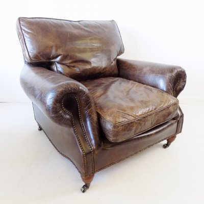 Brown leather armchair, 1970s
