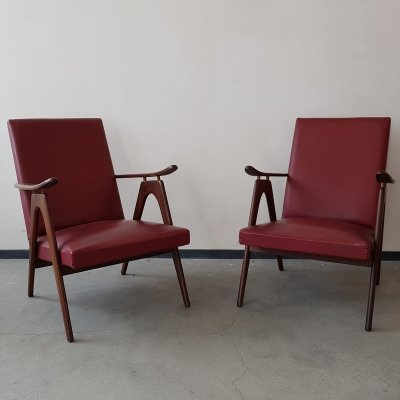 Set of 2 skai leather lounge chairs, 1960s