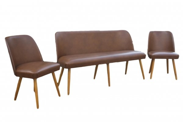 Synthetic Leather Cocktail bench & 2 chairs, 1950s