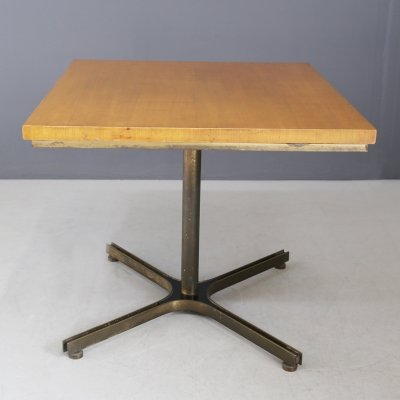 Rare Italian MidCentury Table in brass & wood, 1950s