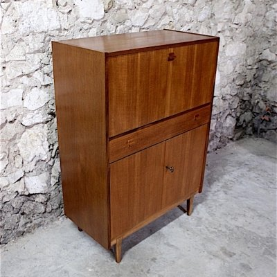 Vintage teak mid century scandinavian style bar or secretaire desk by Nathan Furniture England, 1960s