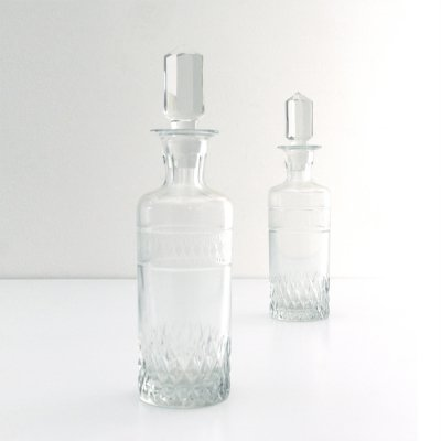 Pair of glass Art deco bottles with plug, 1930s