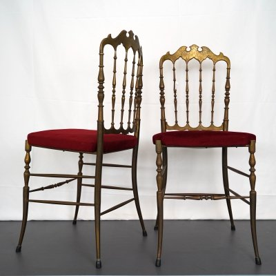 Pair of Vintage Red Velvet Brass Chair from Chiavari, 1950s