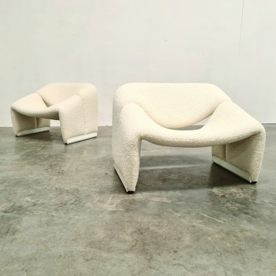 Set of 2 Artifort Groovy chairs in creme bouclé by Pierre Paulin, 1970s