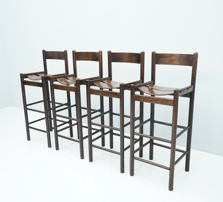 Set of Four Wooden Bar Stools, 1970s