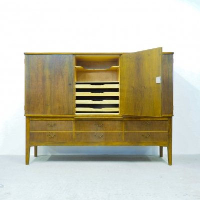 Danish design walnut buffet with 6 drawers, 1960's