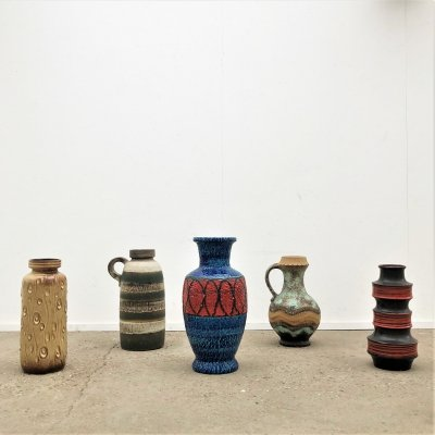 Vintage West Germany earthenware vases, 1970s