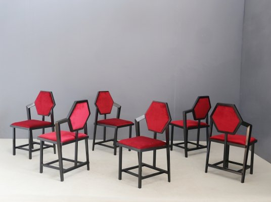 Set of 6 Model 'Midway 1' chairs by Frank Lloyd Wright, 1980s
