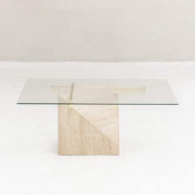 Travertine coffee table by Artedi, Italy 1970s