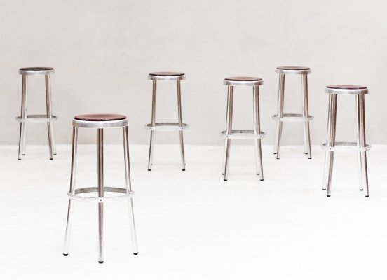 Set of 6 barstools with red seating, Spain 1960s