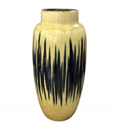 Mid-Century Modern Yellow & Blue Ceramic German Vase, circa 1970