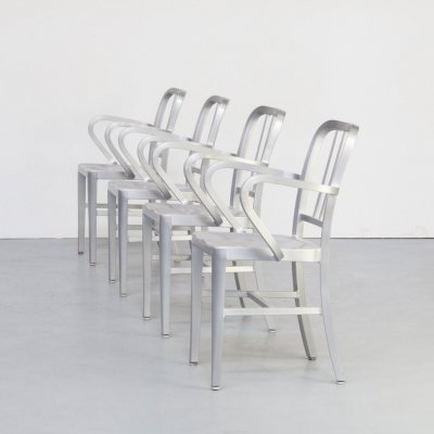 Set of 4 'Navy' aluminium dining chair for Emeco, 1980s