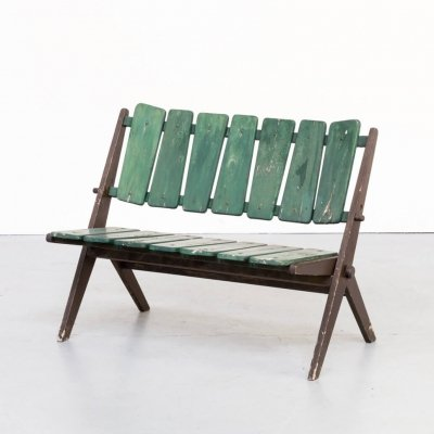 50s foldable wooden slatted bench