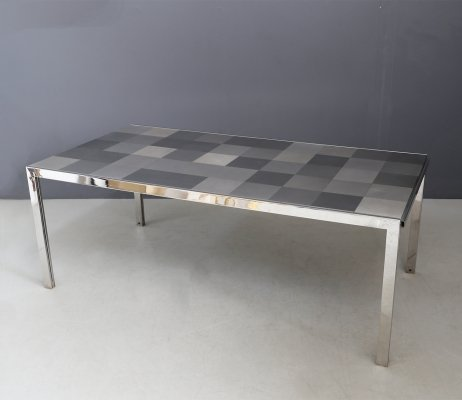 Stainless grey 'Luar Op' Table by Ross Littell for ICF De Padova, 1970s