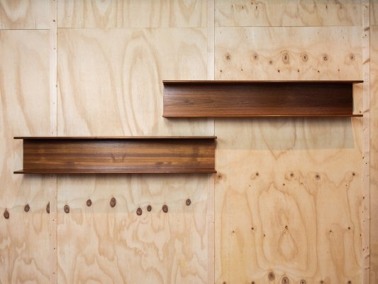 Midcentury Danish pair of wall mount shelves in teak, 1960s