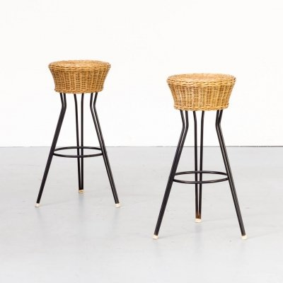 Pair of Wicker stools for Rohe Noordwolde, 1960s