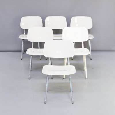 Set of 6 Friso Kramer galvanized 'Revolt' chairs for Ahrend