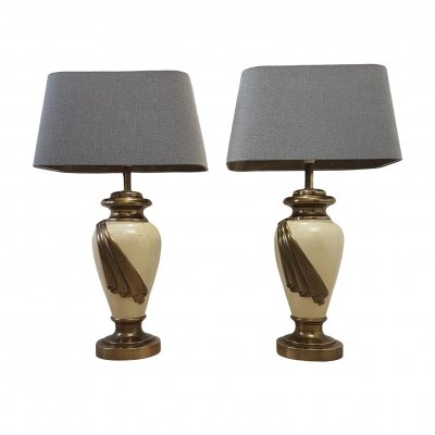 Set large brass table lamps with ivory colored lacquer, 1970s