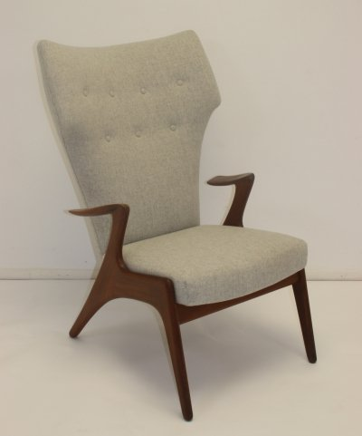 Vintage Handmade High back Armchair by Kurt Østervig, 1960